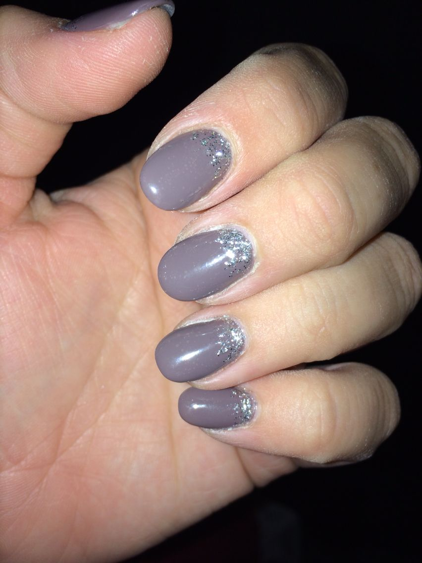 Taupe nails with glitters | Health and Beauty | Pinterest