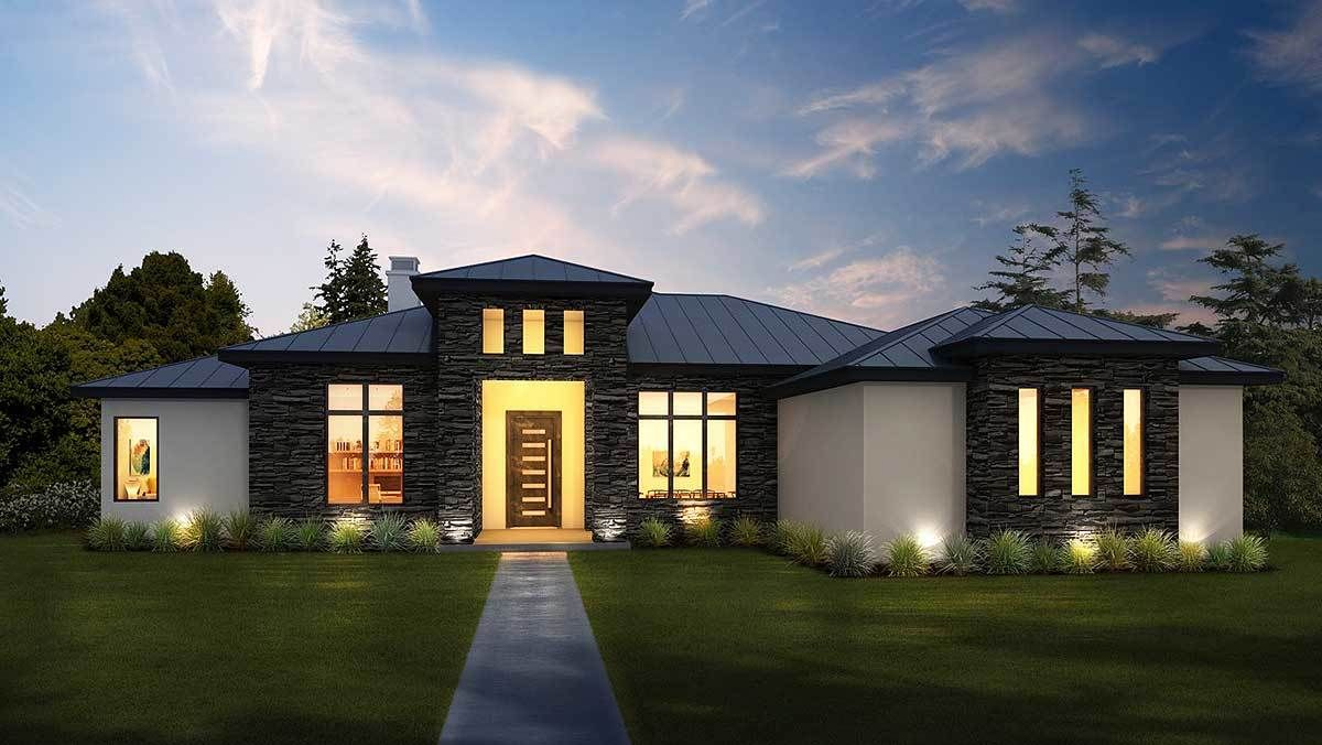 Modern Hill Country Retreat | Country house plans, Prairie ...