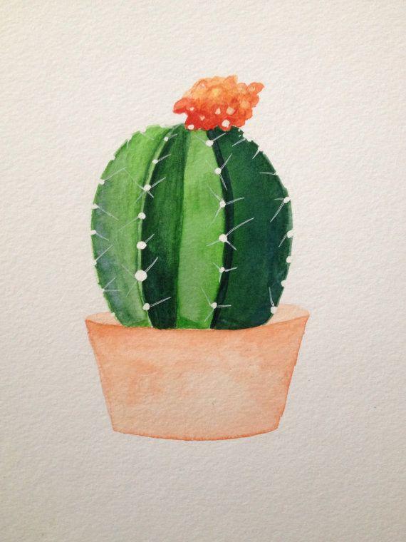 Cacti Succulent Watercolor Painting Etsy Watercolor Cactus Succulent Art Cactus Drawing