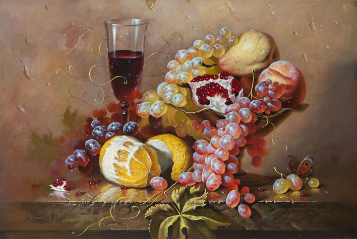 Still life with lemon and grapes - Oleg Khoroshilov - Paintings & Prints Still… | ArtPal thumbnail