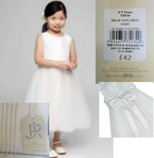 Details about Girls bridesmaid dress ivory