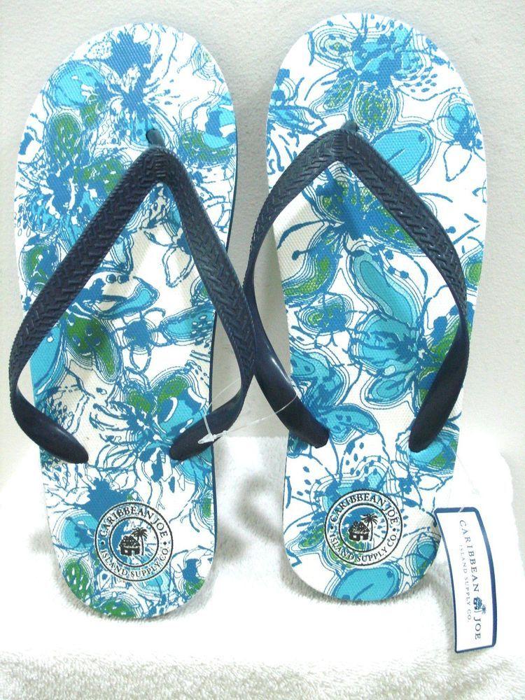 b8e19f43d0c0d CARIBBEAN JOE Men s Flip Flops Sandals White Blue Size Medium (8 9) New   CARIBBEANJOE  FlipFlops