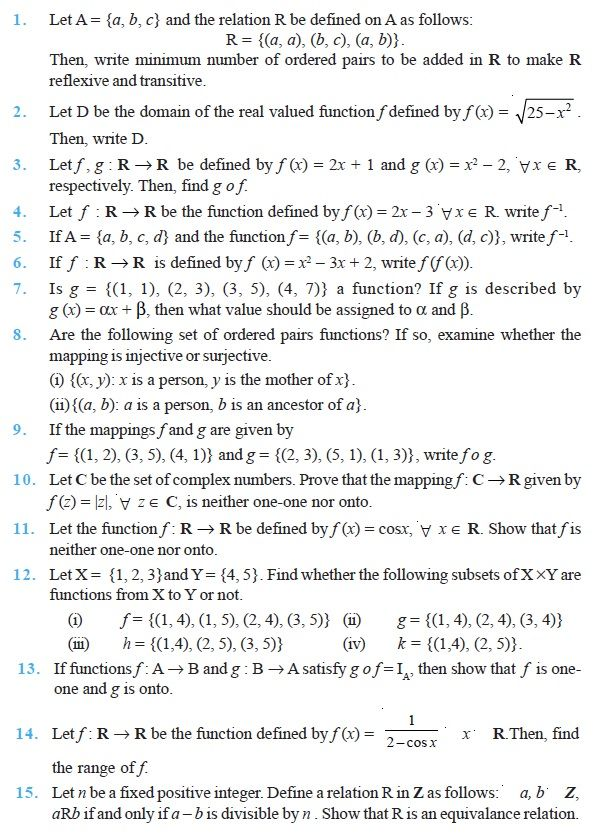 Class 12 Important Questions for Maths Relations and Functions – Relations and Functions Worksheet