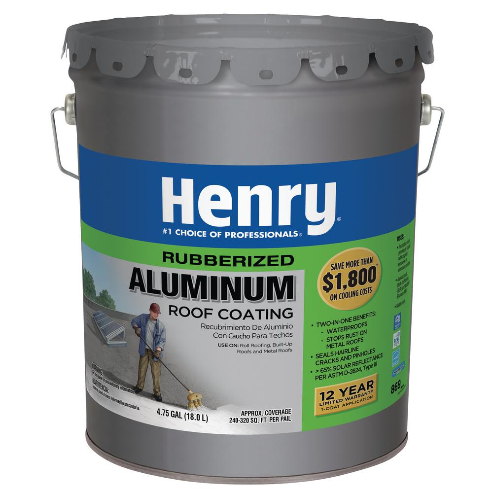 Henry 869 Rubberized Aluminum Reflective Roof Coating 24 Piece He869072 The Home Depot In 2020 Rubber Roof Coating Aluminum Roof Roof Coating