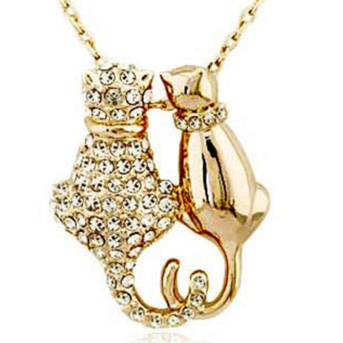 TeenLifeQuotes.com - Cat Couple Crystal Pendant