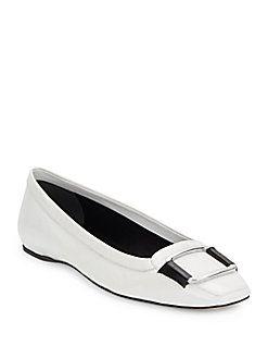 ROGER VIVIER Square Toe Leather Flats. #rogervivier #shoes #flats