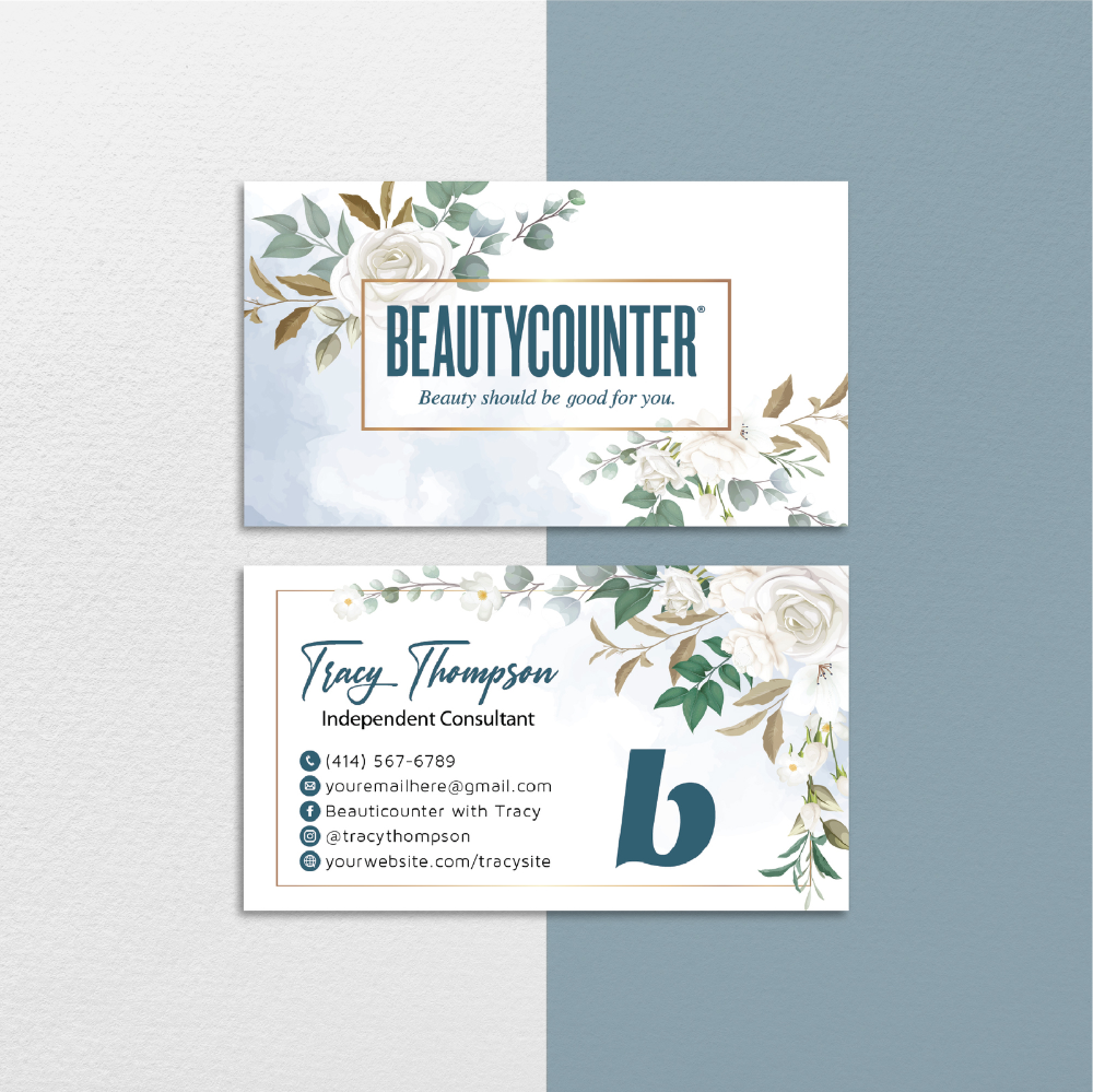 Floral Custom Beautycounter Business Card Beautycounter Business Card Bc107 Business C Floral Business Cards Beautycounter Business Printable Business Cards