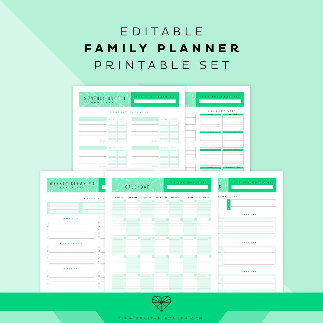 Editable Family Planner Printable Set