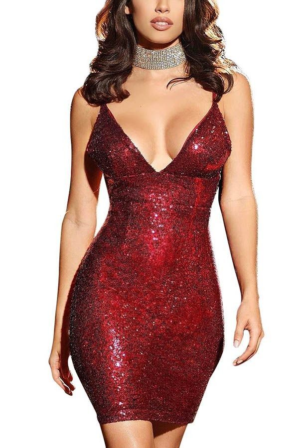 Red Plunging V Neck Spaghetti Straps Sequins Slip Party Dress   Party  Dresses 6c230d24d