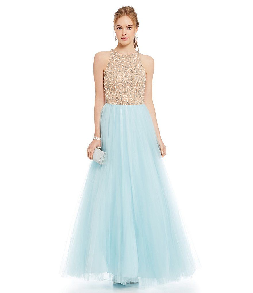 551503f4ae0 Sky Blue Glamour by Terani Couture Beaded Illusion Bodice Ball Gown ...