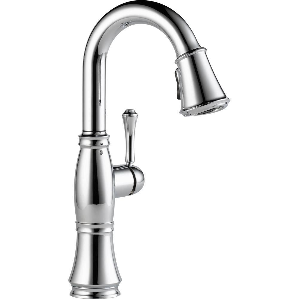 Delta Cassidy Single Handle Bar Faucet With Pull Down Sprayer In