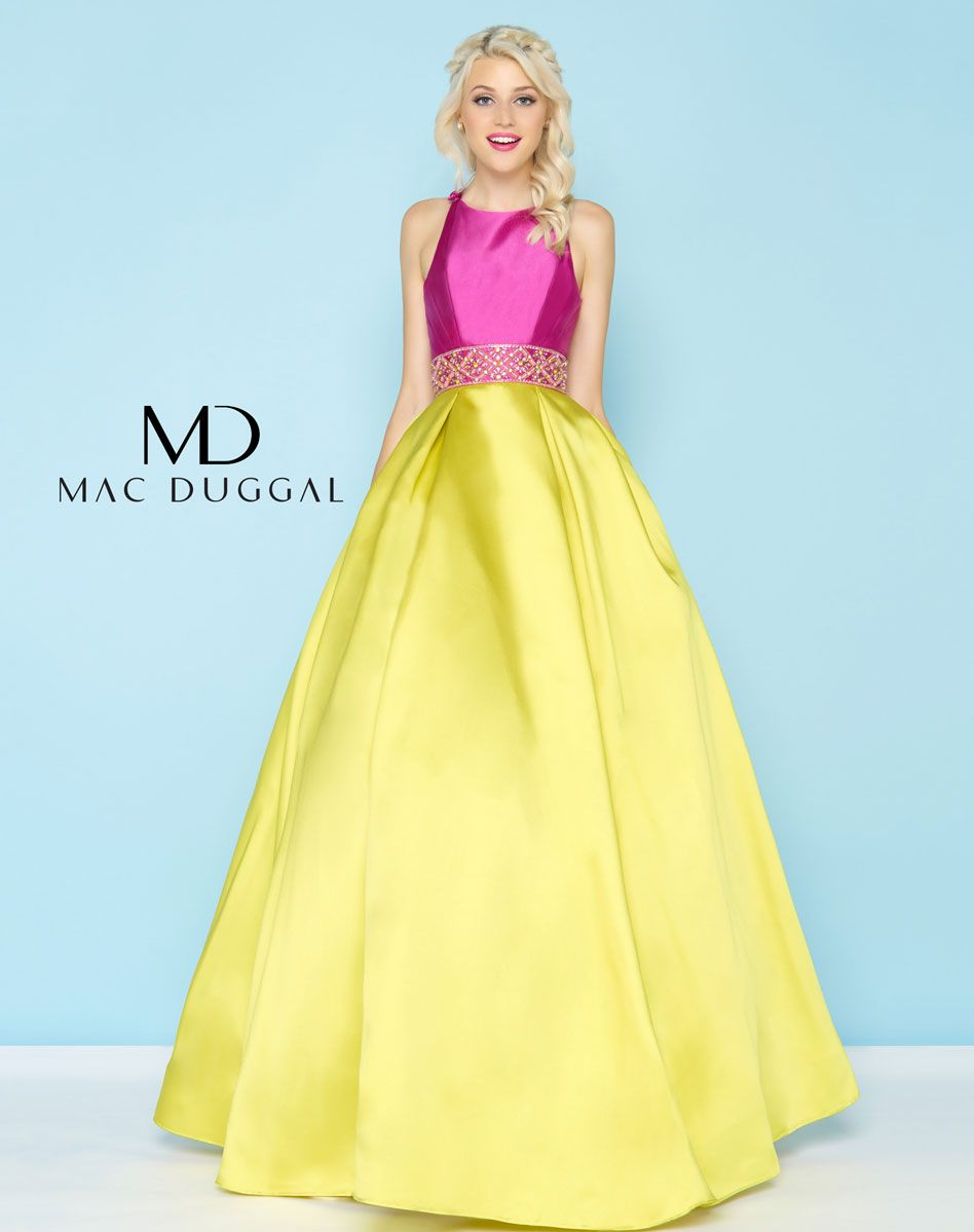 Color blocked ball gown with pockets and fabric buttons on shoulders ...