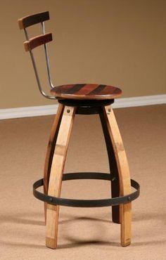 Wine Barrel Stave Furniture Swivel Stool Table