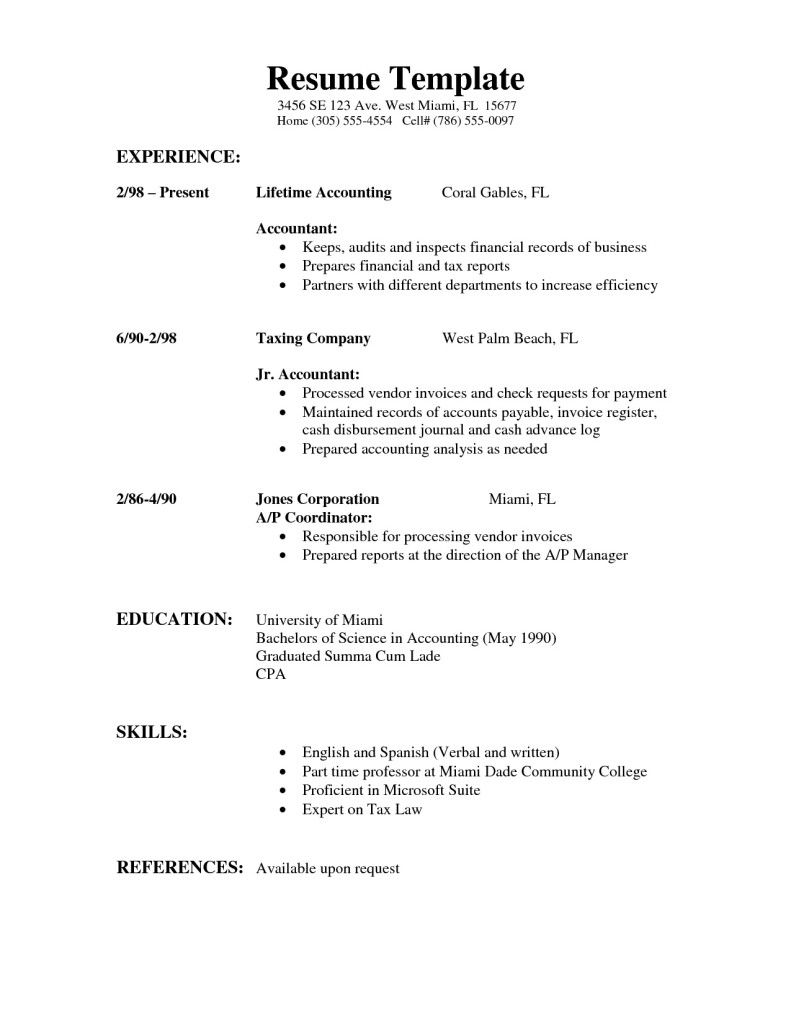 Example of a simple resume for a job