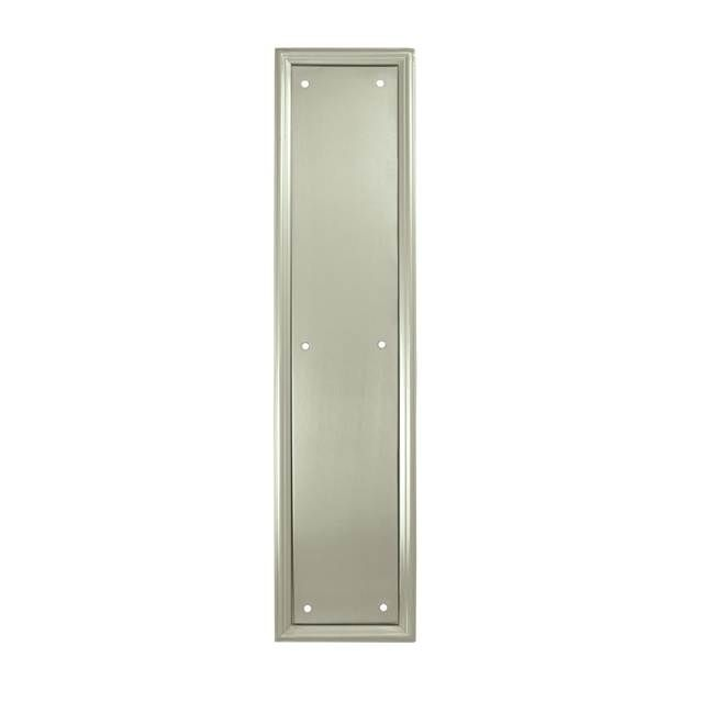 "Deltana's 3-1/2"" x 15"" Solid Brass Framed Heavy Duty Push Plates are a decorative solution to protecting the finish of a swinging door. They are available in an array of fine finishes. Shown in Satin Nickel. PP2280U15"
