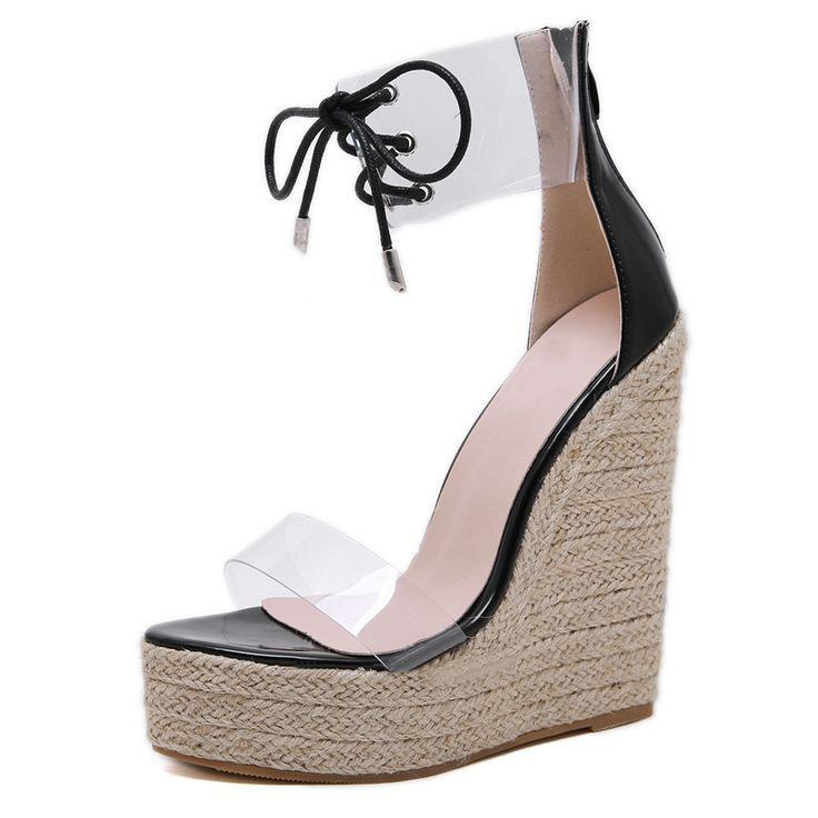 Mode PVC Sandale Frauen Transparente Sandalen Lace-Up Wedges High Heels Schwarz Gold Party Täglich Pumps Schuhe Größe 35-40
