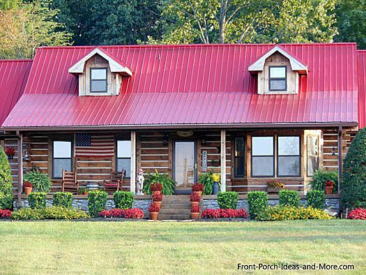 Beautiful Log Cabin With Red Roof From Front Porch Ideas