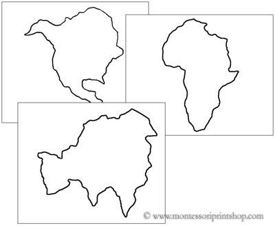 Continents Cutting and PinPoking Shapes  Printable Montessori
