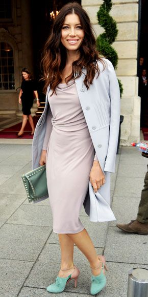 Jessica Biel:gathered sheath, tailored coat and seafoam green accessories....love the simplicity in the pastel separates.