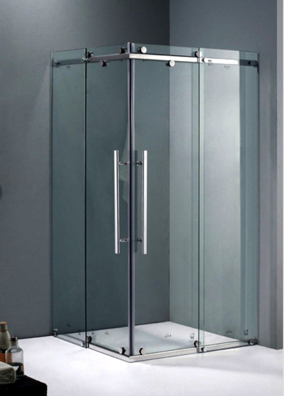 Small Corner Shower With Glass Sliding Door Google Search