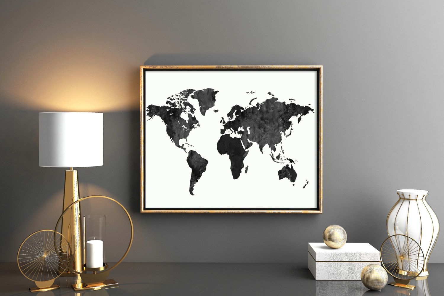 Black and white world map large world map black watercolor world black and white world map large world map black watercolor world map world map printable world map download map artwork 24x36 world map gumiabroncs Images