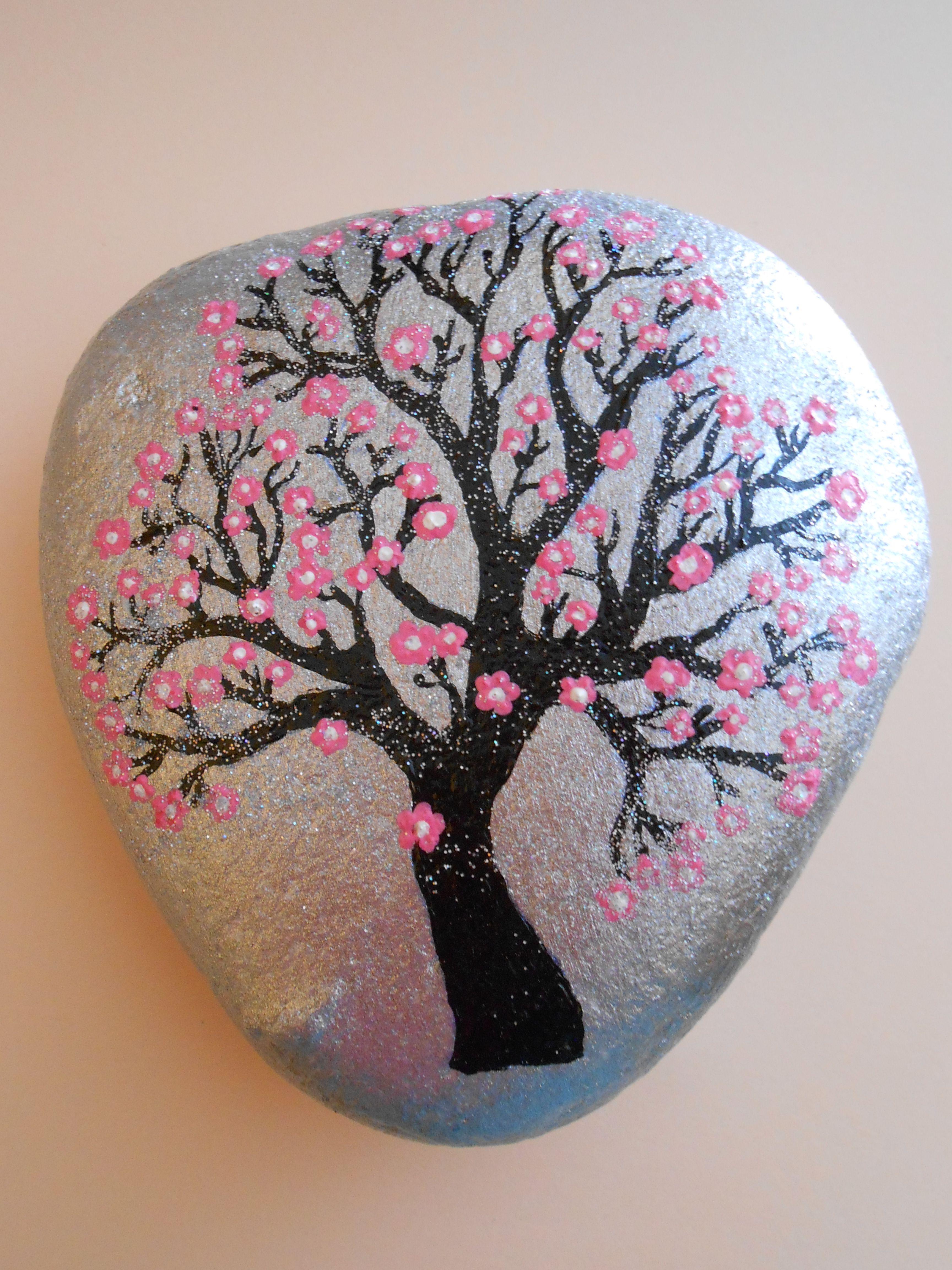 Stone painting Αlmond tree 2