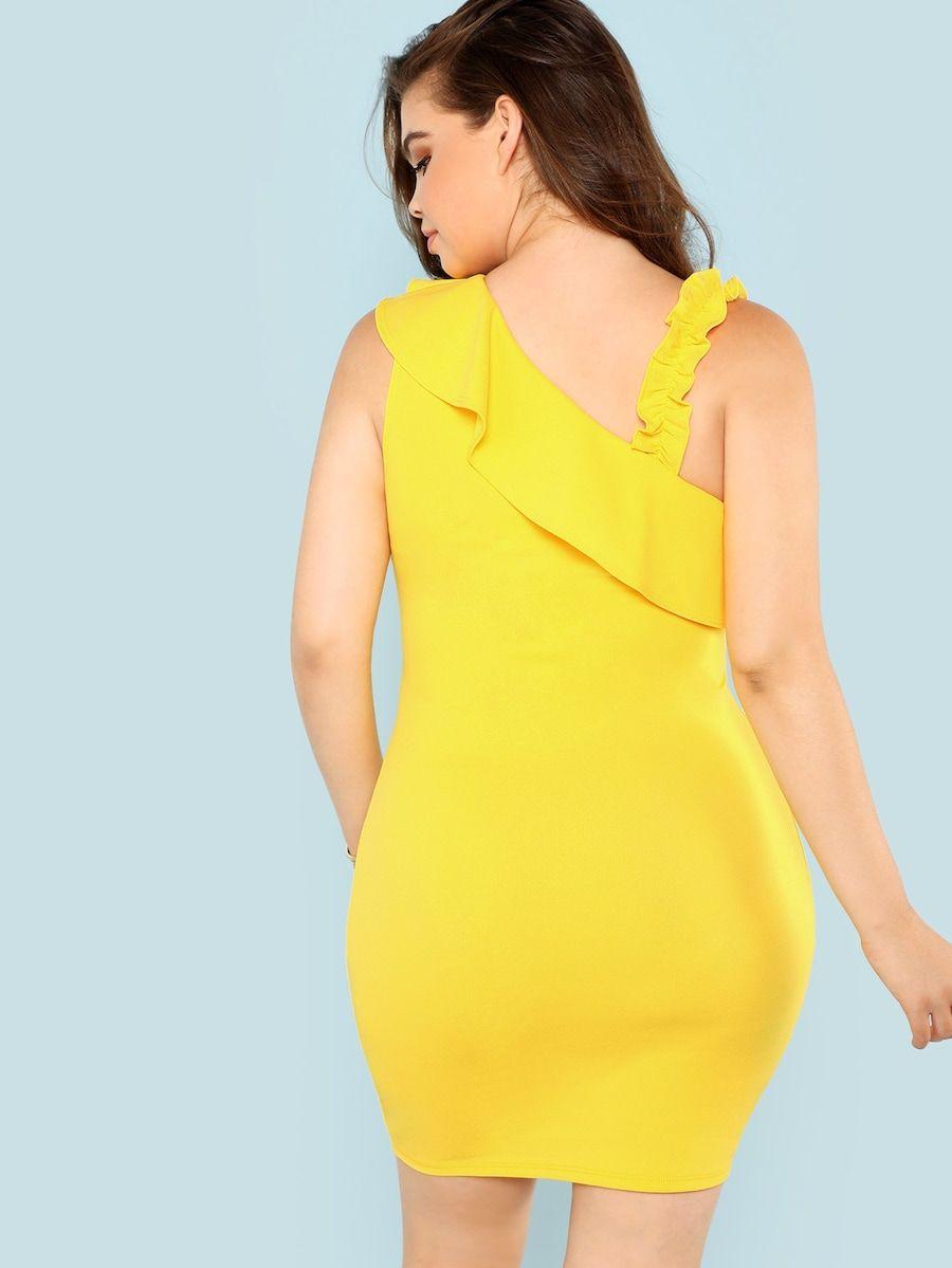 5f3d3a78 Ruffle Neckline Dress plus size Sleeve Length: Sleeveless Dresses Length:  Short Silhouette: Bodycon
