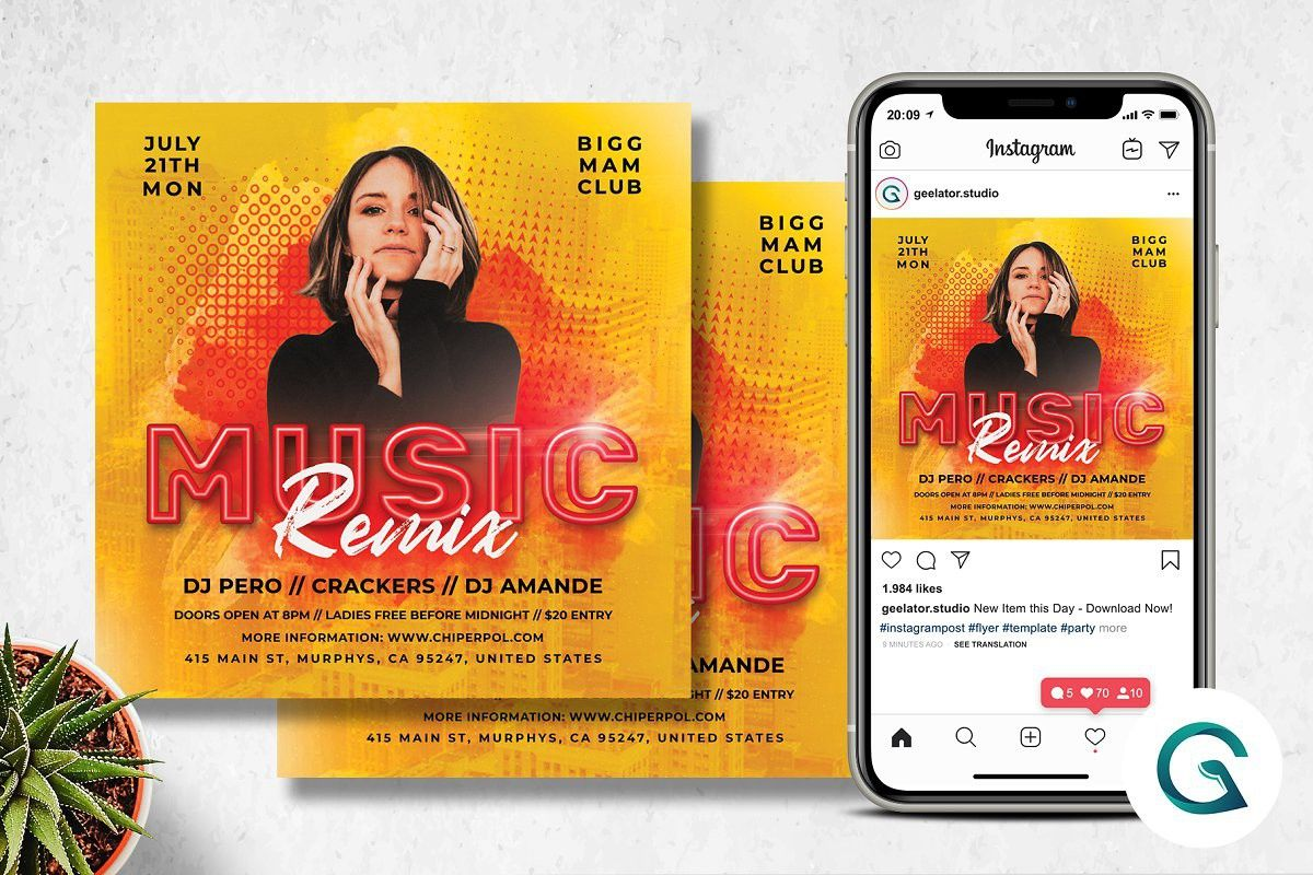 Music Remix Flyer in 2020 Flyer, Flyer template, Party flyer