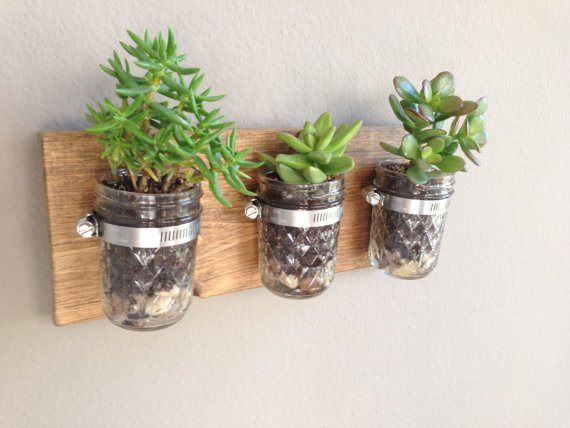 Rustic Crystal Mason Jar Vase Wall Planter