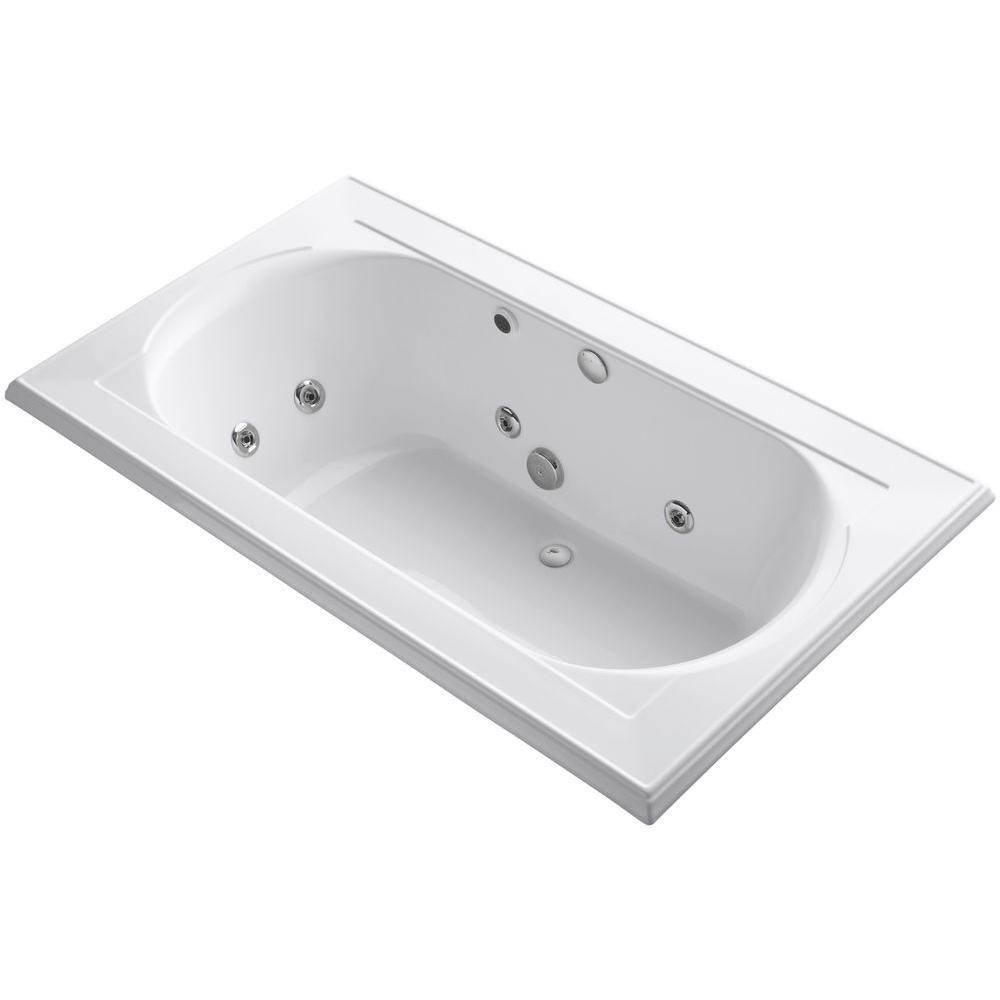KOHLER Memoirs 6 ft. Acrylic Rectangular Drop-In Whirlpool Bathtub ...