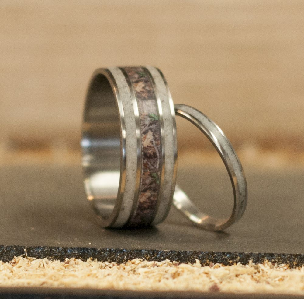 MATCHING SET CAMO ELK ANTLER RINGS available in titanium silver