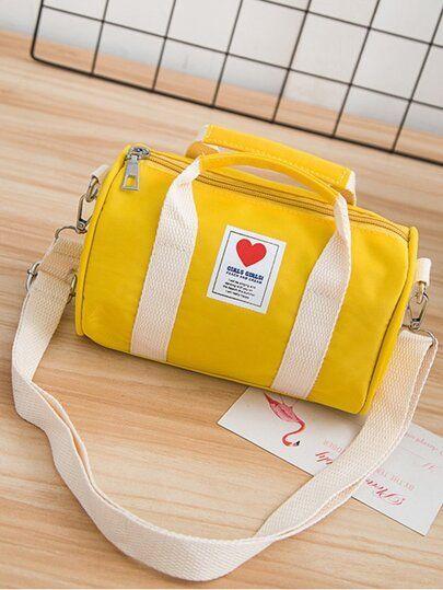 Kids Heart Patch Decor Duffle Bag