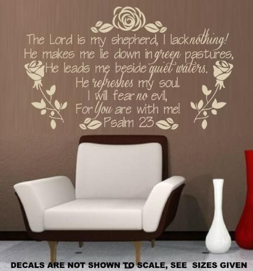 Psalm 23 Bible Quotation Sticker 5 Large Vinyl Decal Psalms Wall Decals And Stickers