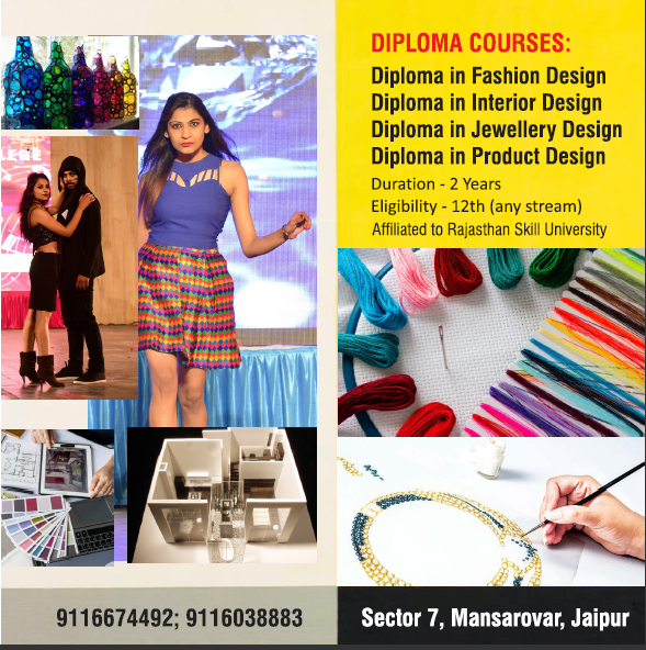 Admissions Open For Fashion Interior Jewellery Product Designing For Admissions Call Us On 91 9828725 Diploma Design Diploma In Fashion Designing Jaipur