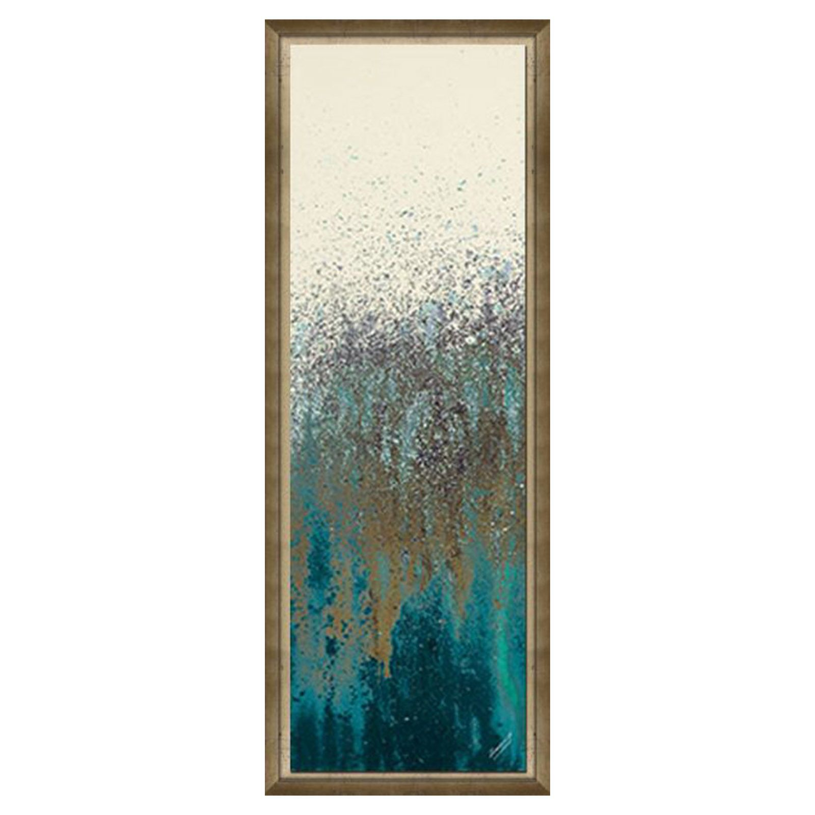 12 X 36 In Teal Wood Framed Studio Art