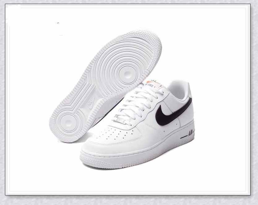 NIKE AIR FORCE 1 LOW 488298-158 NK AF1 NK WHT/BLK MEN SHOES