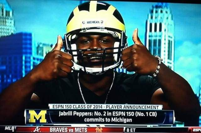 Jabrill Peppers Making His Commitment To Michigan On Espn With Images Michigan Go Blue
