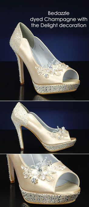 Design Your Own Wedding Shoes At MyGlassSlipper.com! Bedazzle By Pink Dyed  Champagne With Photo Gallery