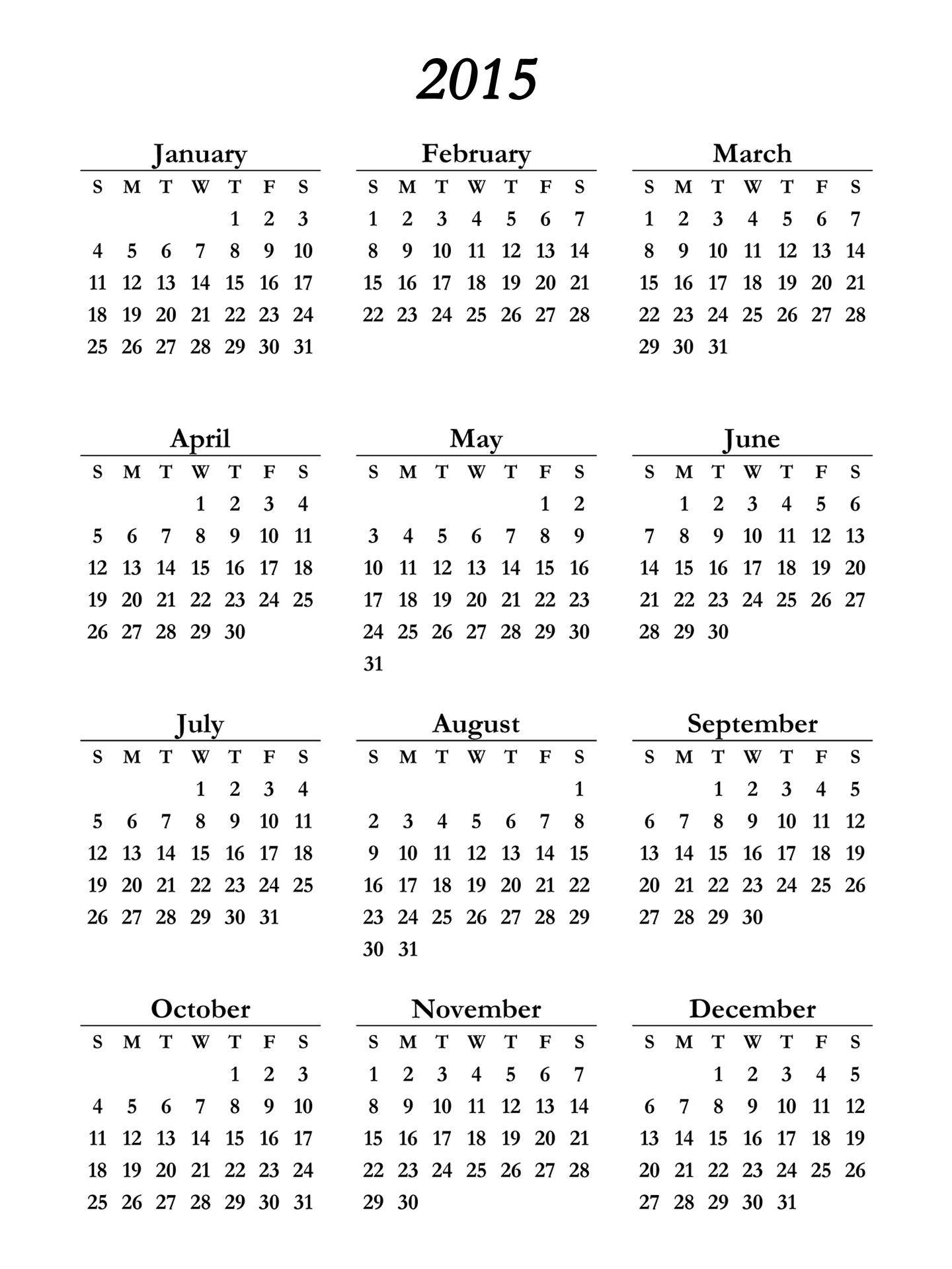 2015 Calendar Calendar 2015 Image Calendar Printables 12 Month Calendar Printable Free Printable Calendar