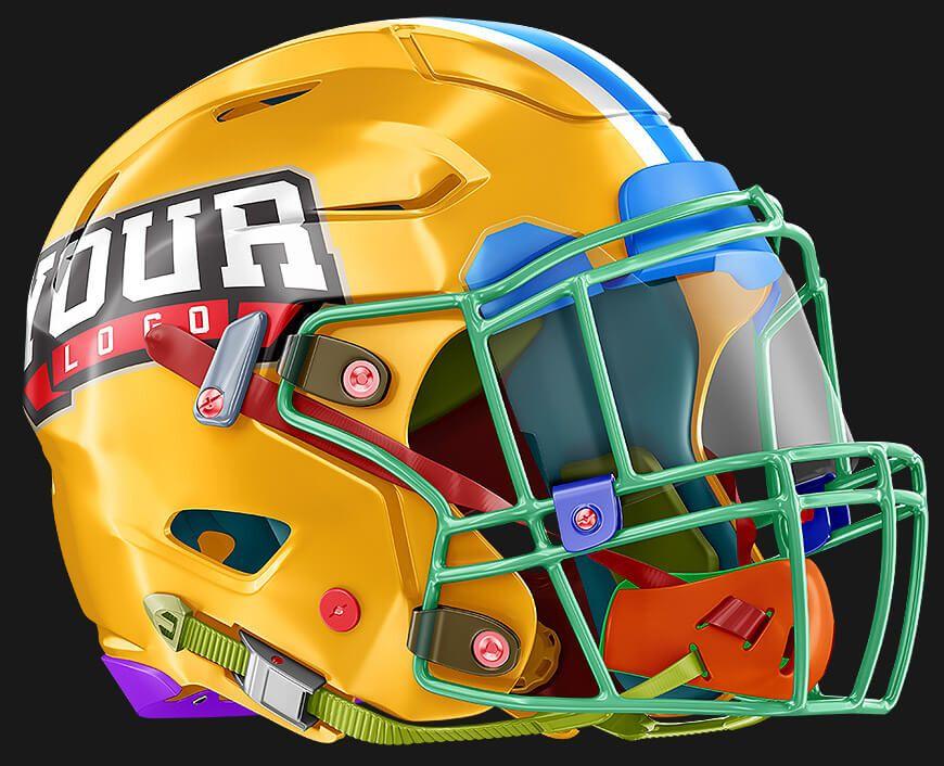 Custom Photoshop Psd Helmet Template And Mockup Football Helmets Football Xfl Football