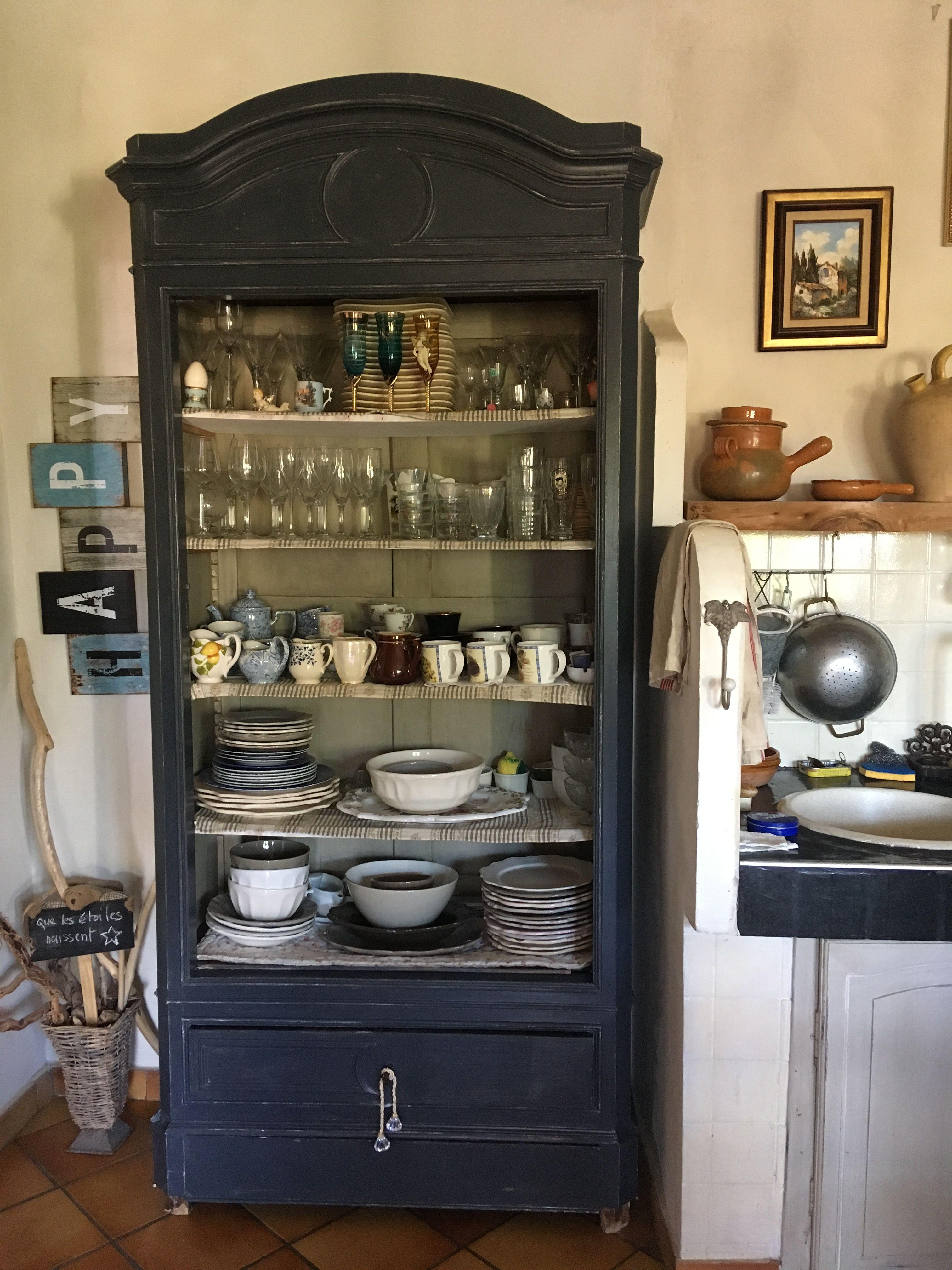 patine meuble vaisselier gris