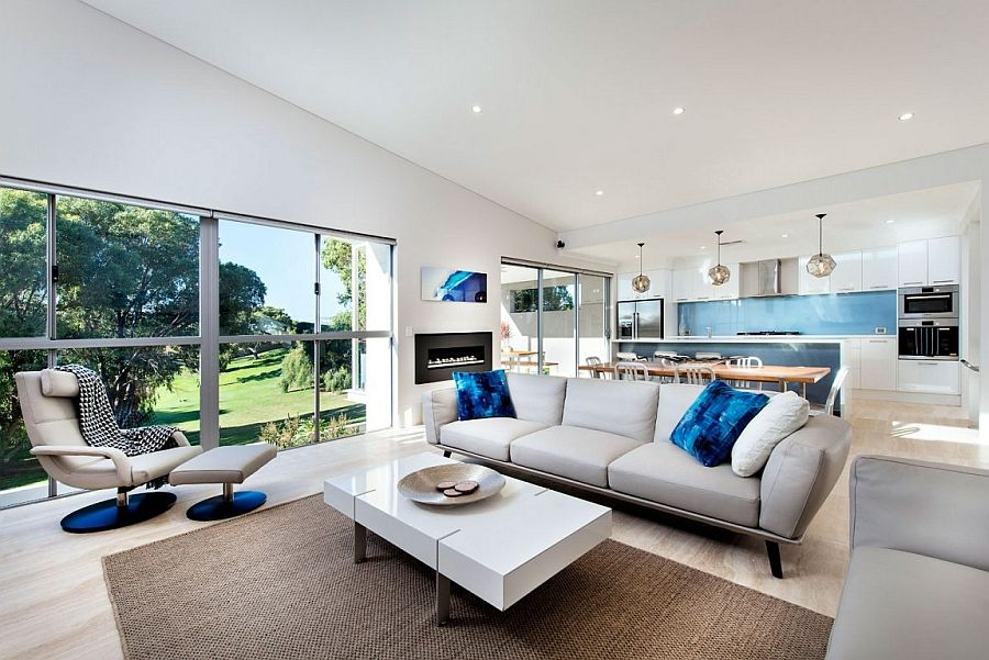 Contemporary Design Living Room Awesome Contemporary Perth Residence With Scenic Ocean Views  Cobalt Blue Design Inspiration