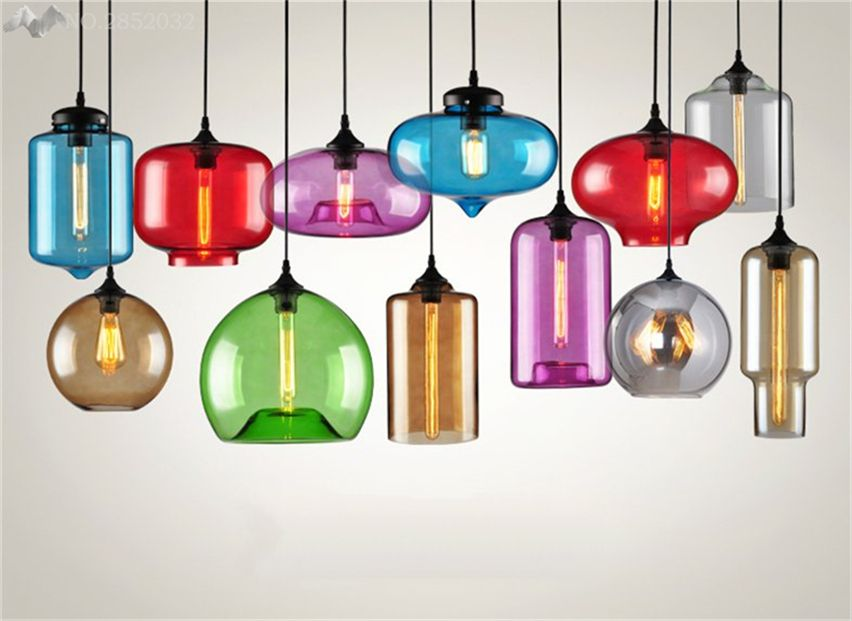 Jw Nordic Creative Various Shapes Colorful Pendant Lamp Glass