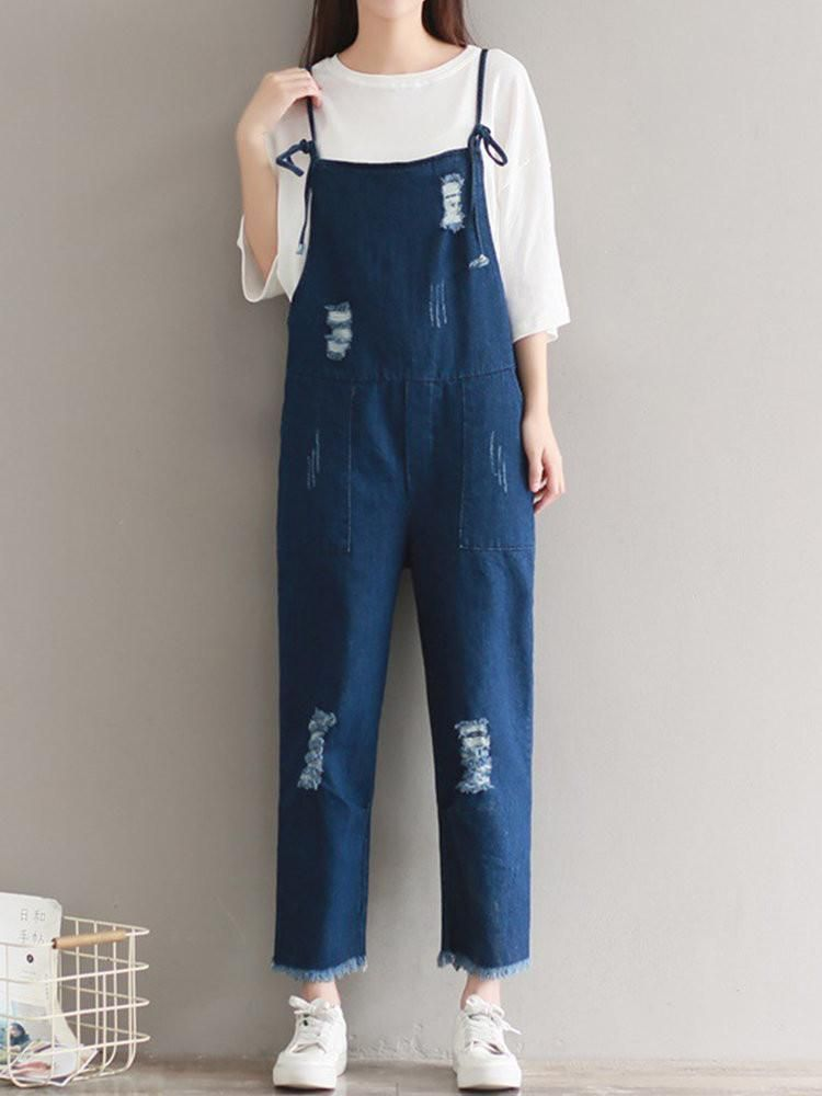 6e400eb84ce1 Brief Holes Strap Pocket Denim Jumpsuits For Women
