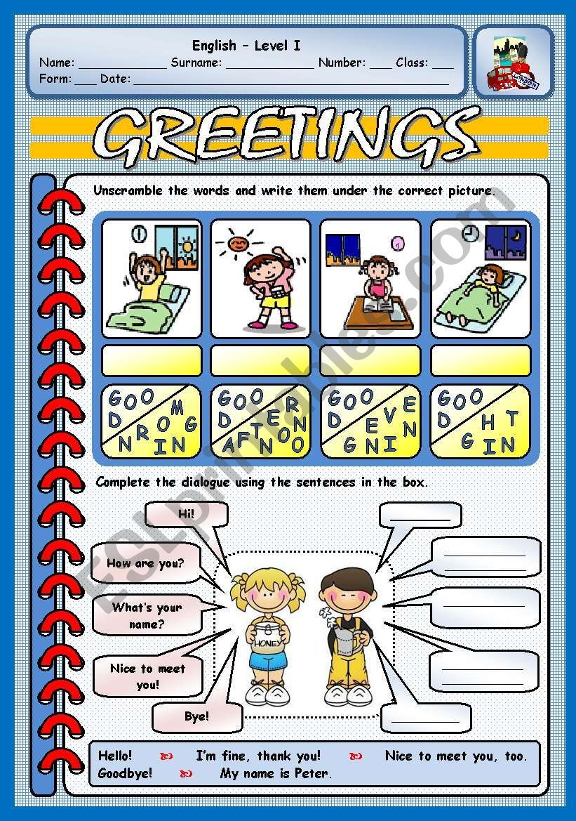 Students Unscramble The Words For Greetings And Label The Pictures Th Pre Primer Sight Word Activities English Activities For Kids English Worksheets For Kids [ 1169 x 821 Pixel ]
