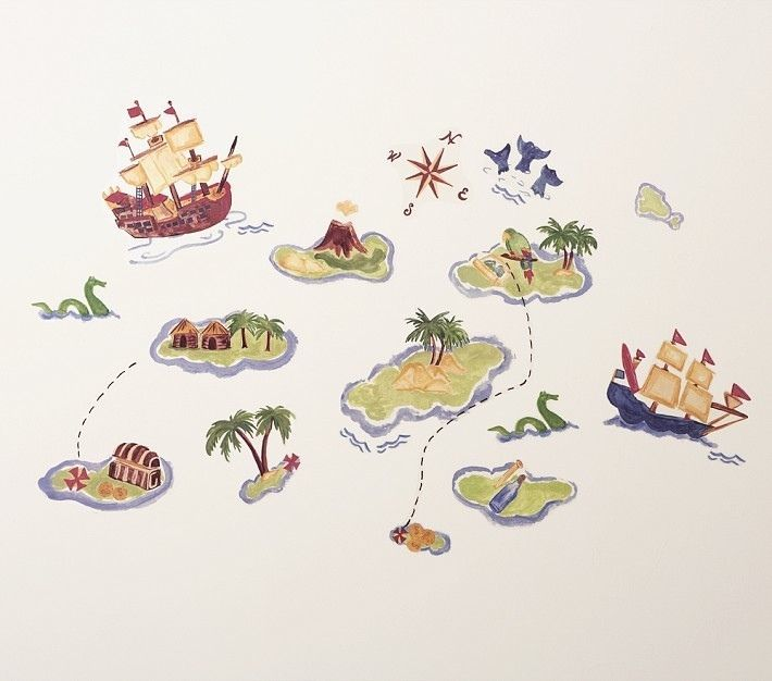 Good NIB Pottery Barn Kids Wall Decals PIRATE SHIP Wallies TREASURE COVE Map Art  Bath