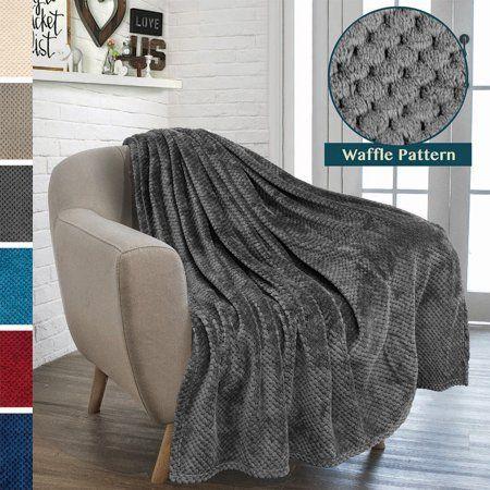 Premium Flannel Fleece Throw Blanket For Sofa Couch | Charcoal Dark Grey Waffle Textured Soft Fuzzy Throw | Warm Cozy Microfiber | Lightweight, All Season Use | 50 x 60 Inches - Walmart.com