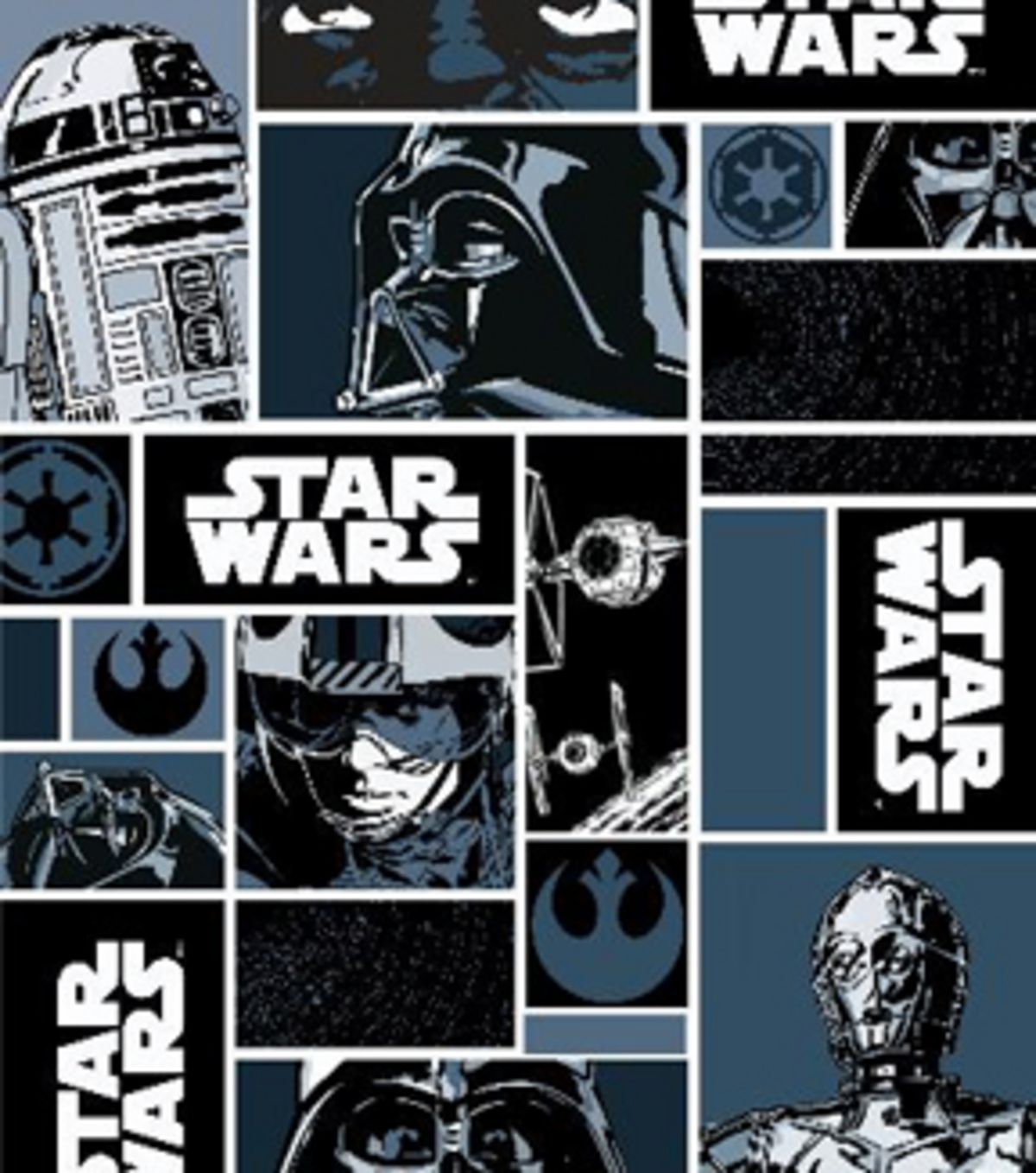 Star Wars Characters In Blocks Cotton Fabric Available In
