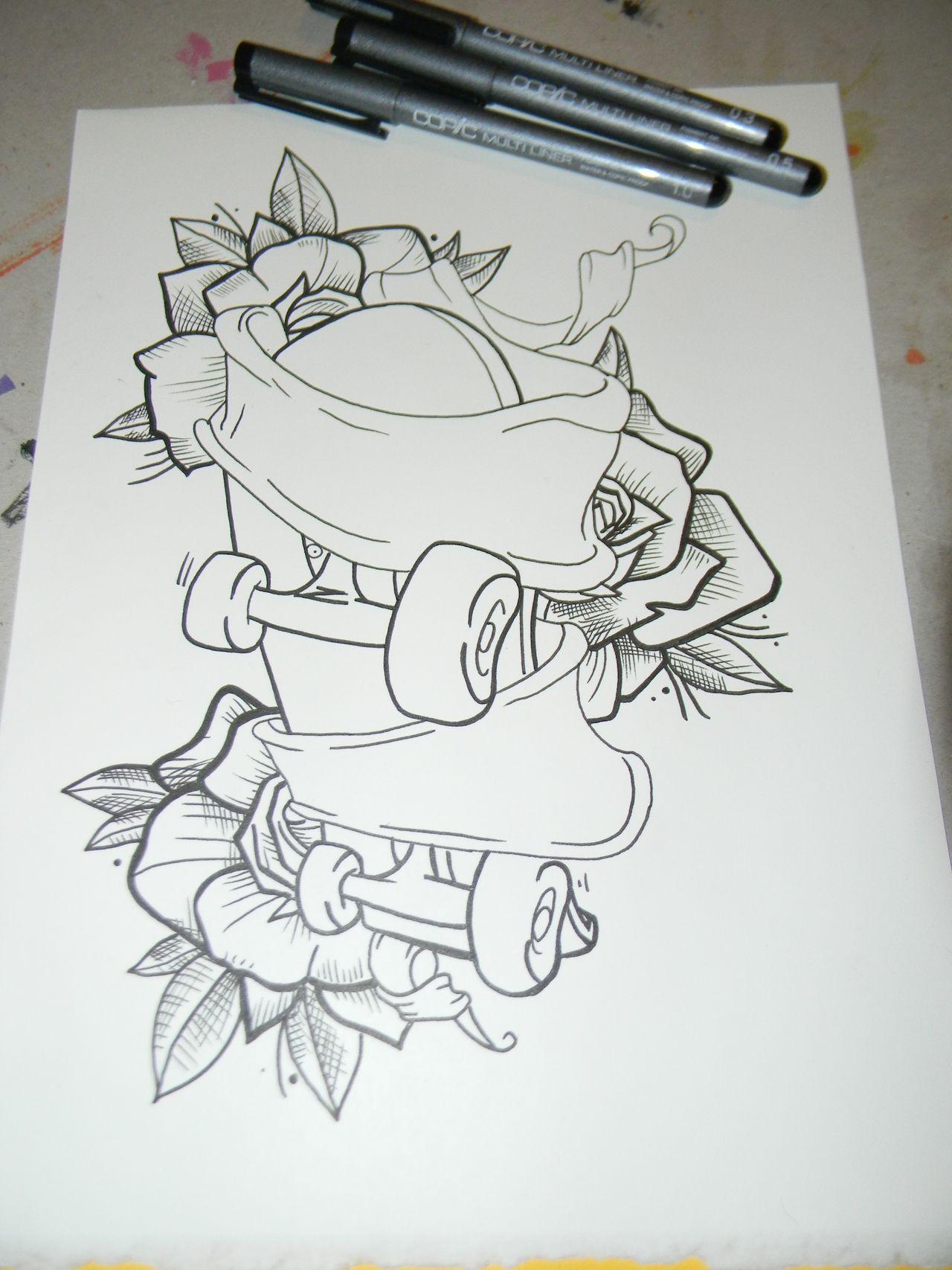 skateboard tattoo drawings art of muecke tattoos custom roller skates and rose tattoo. Black Bedroom Furniture Sets. Home Design Ideas
