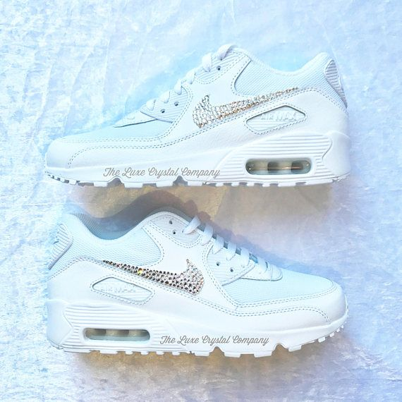 f739bf1c2a0af Luxe Crystal Custom Nike Air Max 90 White Wedding Bridal Shoes ...